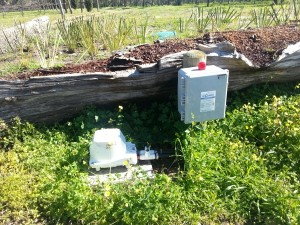 Clarus Fusion alarm panel and blower in garden